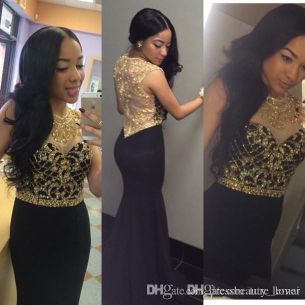 Abbagliante nero e oro che borda i vestiti da promenade aderenti 2017 economici sirena di cristallo donne eleganti sheer indietro formali abiti da sera lunghi del partito