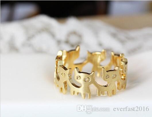 Prezzo di fabbrica Cats Rings 6 Lovely Cat Collegato Animal Rings le donne Ragazza può mescolare il colore EFR003