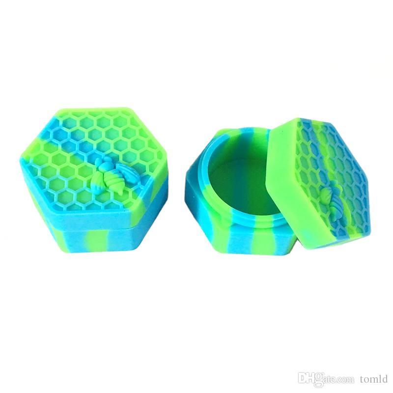 Yeni Slick Yağ Silikon Kavanozlar Dab Wax Konteyner 26 ml Balmumu Altıgen Şekli Ile Silikon Konteynerler 1 adet