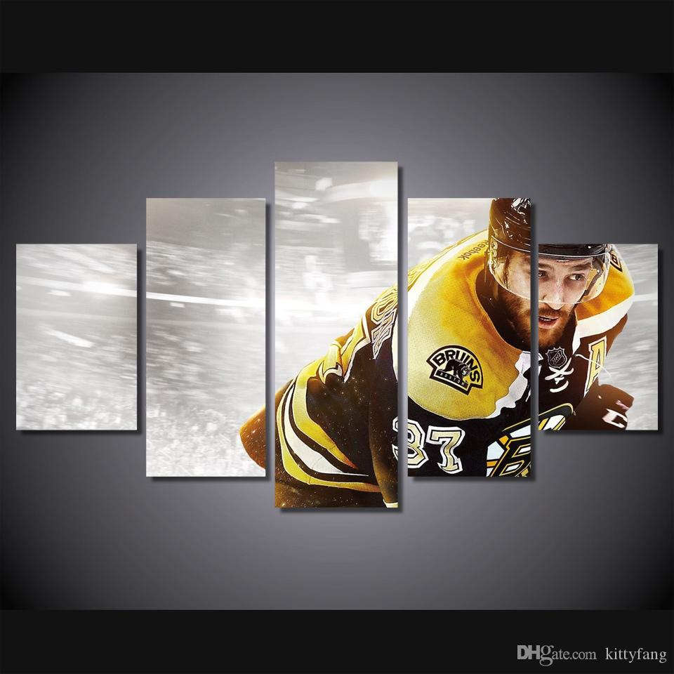 Framed HD Printed Ice Hockey Sport Picture Home Decor Canvas Poster Cheap Abstract Oil Painting