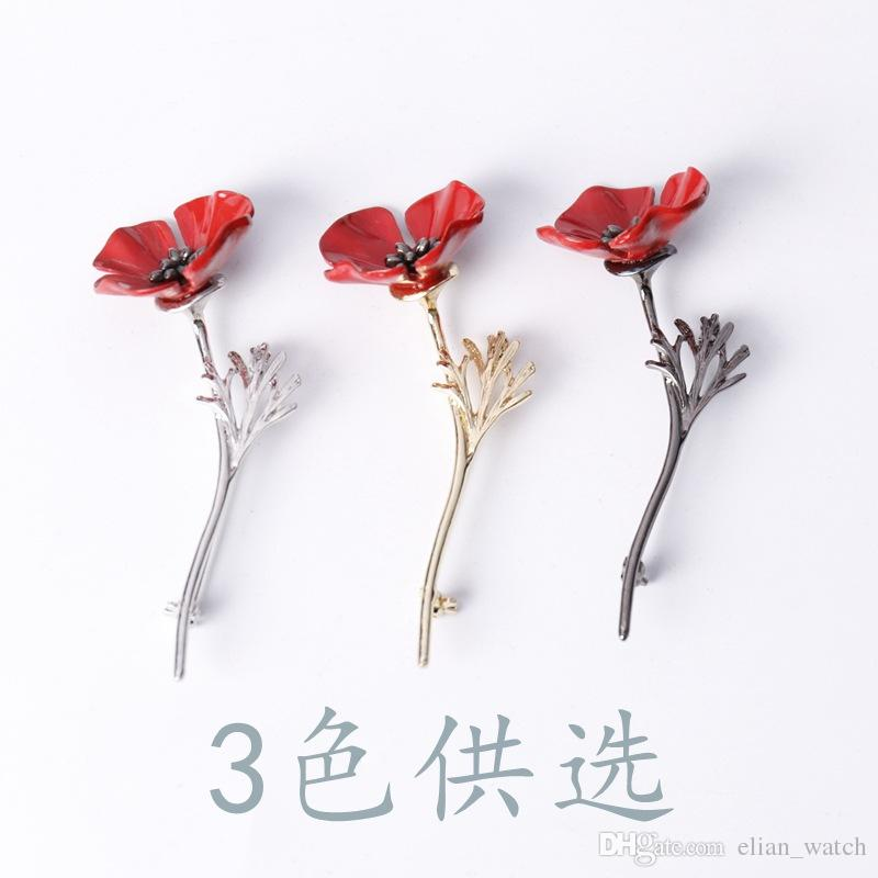New Arrival Retro Women Jewelry Gun Metal Brooches UK Remembrance Day Red Flower Brooch Safety Pins Men Brooch for Suits Accessories