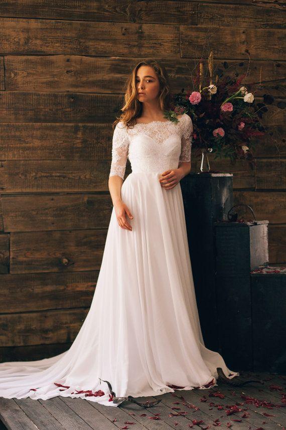 compre 2017 una línea de vestidos de novia boho encaje top gasa