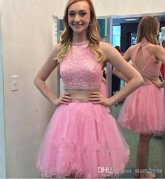 Hot Sale Pink Short Tulle Homecoming Dress 2017 Sweet Sixteen Graduation Dresses Ruched High Neck Lace Prom Party Dress Two Piece Homecoming