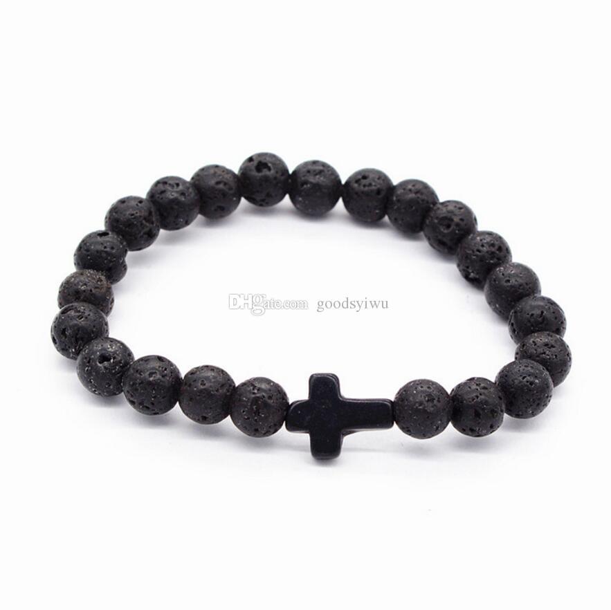 Natural Cruz Preto Pedra De Lava Pulseiras Chakra Cura Equilíbrio Contas Pulseira para Homens Mulheres Estiramento Yoga Jóias