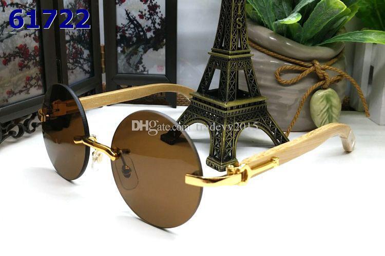 Çerçevesiz ahşap çerçeve bayanlar mens lüks vintage buffalo boynuz gözlük Retro Yuvarlak lensler güneş gözlüğü gözlük ile kırmızı kutu