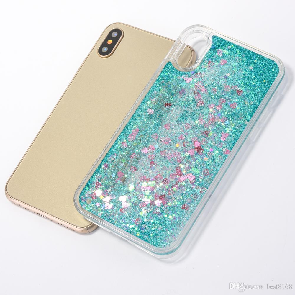 Funda líquida Heart Love para Iphone XS MAX XR X 8 Plus 7 6 5 Plástico duro + TPU Quicksand Glitter Sparkle Magical Dynamic Powder Cover