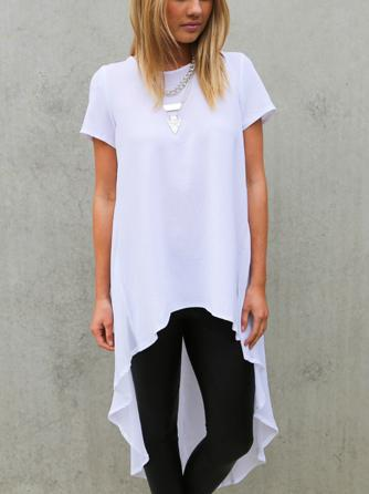 2a94a1c10b30b Wholesale-High Low Hem Short Sleeve Loose Chiffon T-shirt Dress ...