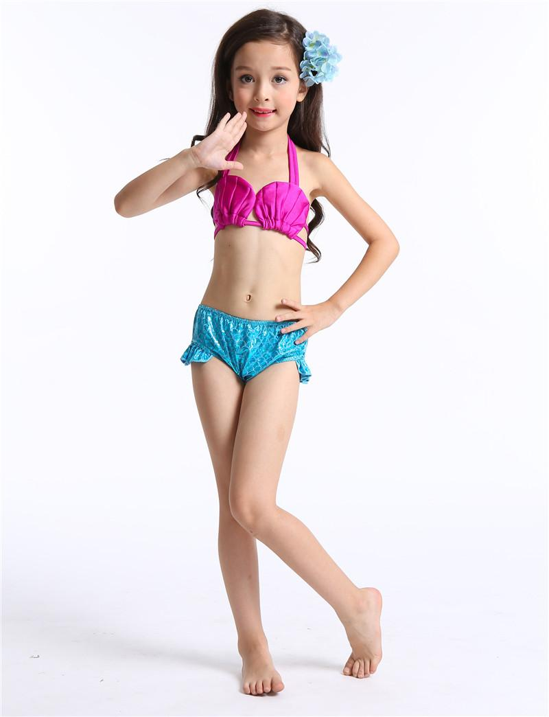Girls Kids Mermaid Tail Swimming Suit Mermaid Tails Two-Pieces Swimwear Bikini Set Beach Cosplay Costumes Dress 190453
