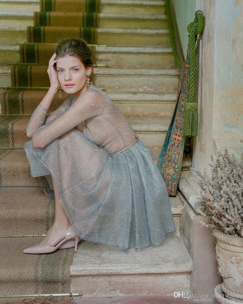 Sexy Kurze Spitze Ballkleider Langarm V-ausschnitt Eine Linie Formale Abendkleider Billig Plus Size Ballkleid