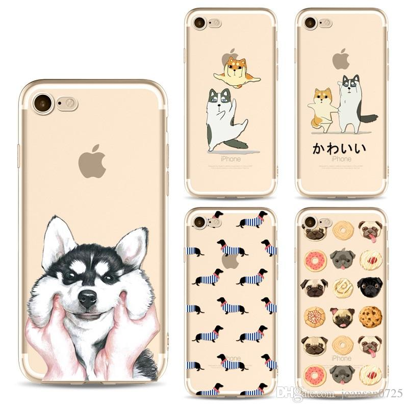 quality design 2dfdb 992fa For iphone X Cases Cute Cartoon TPU Painted Dogs Ultrathin Silicone Back  Protective Cover Shell For iphone 6S 7 8 Plus 5S Samsung S8 S9 Plus