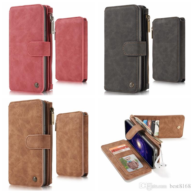 Multifunktions-Kästen für Iphone 11 Pro XS MAX XR X 8 7 6 6S Galaxy Note 10 9 CaseMe Mappen-Leder-magnetisches Removable abnehmbares Flip-Cover