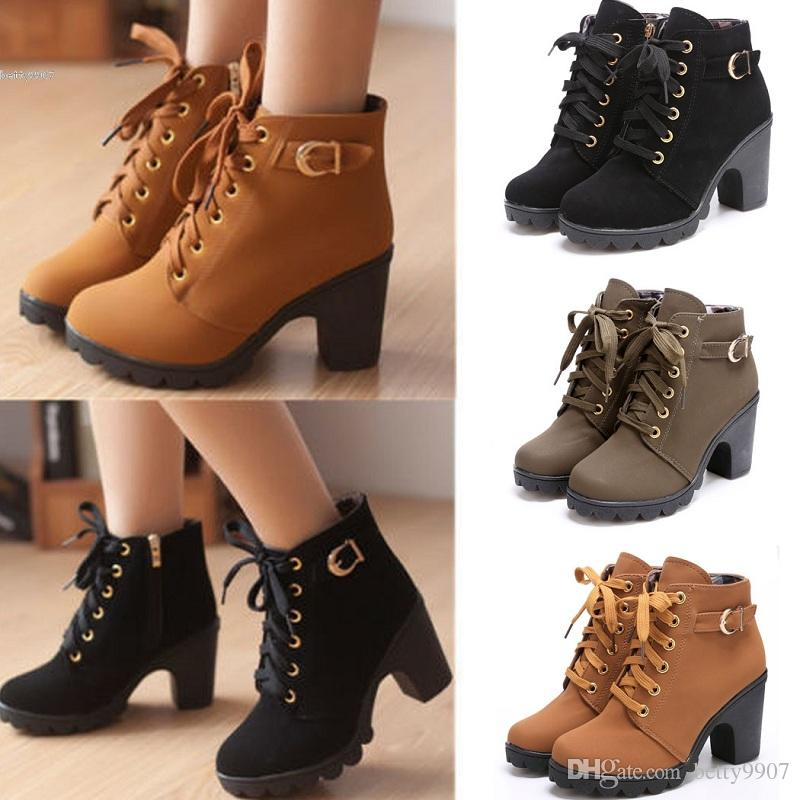 2017 Fashion Women Lace Up Platform Block High Heel Ankle Boot ...