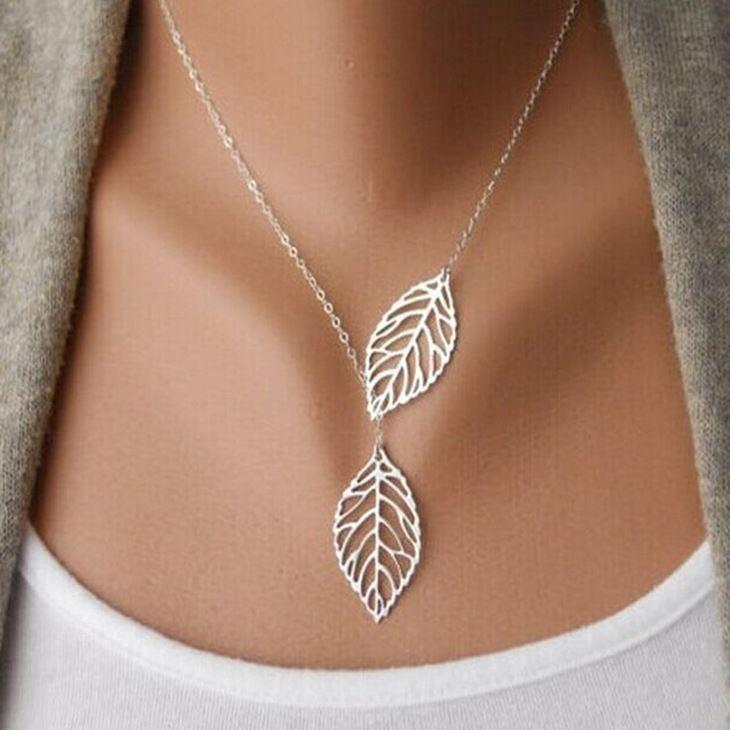 Wholesale leaf necklace big double two metal leaves pendant silver wholesale leaf necklace big double two metal leaves pendant silver and gold plated jewelry for women new fashion hot sale wholesale heart pendants necklaces aloadofball Image collections