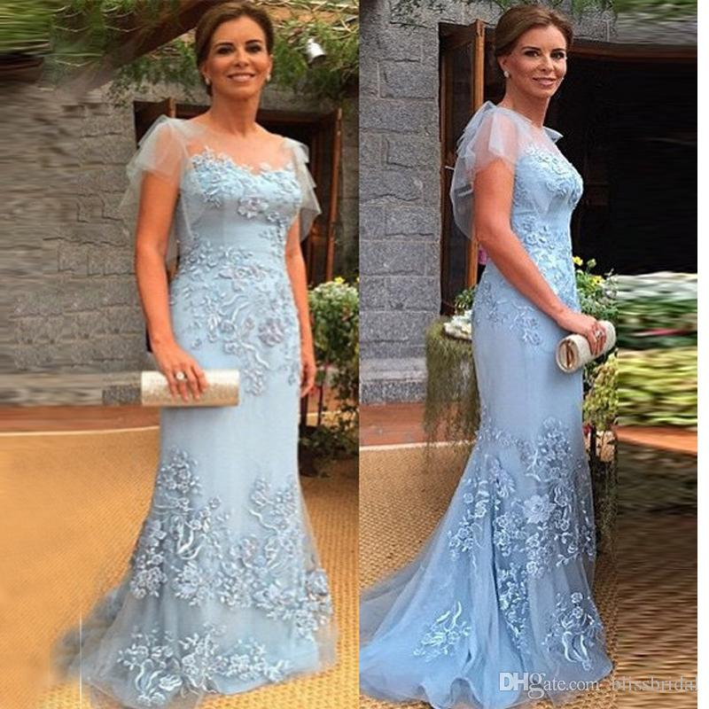 Elegant Mother Of The Bride Dresses Sheer Neck Tulle Cap-Sleeve Sheath-Column Of Prom Gown Blue Lace Applique Long Mother's Dress