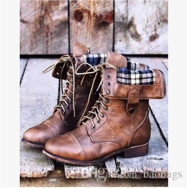 Estilo europeo y americano más tamaño Wome s Martin Boots Vintage plano con cordones de la PU Botas de mujer con cremallera media botas envío gratis