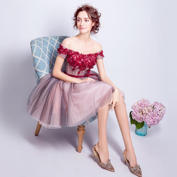 Carmine Pink Sweet Strapless Off Shoulder The Princess