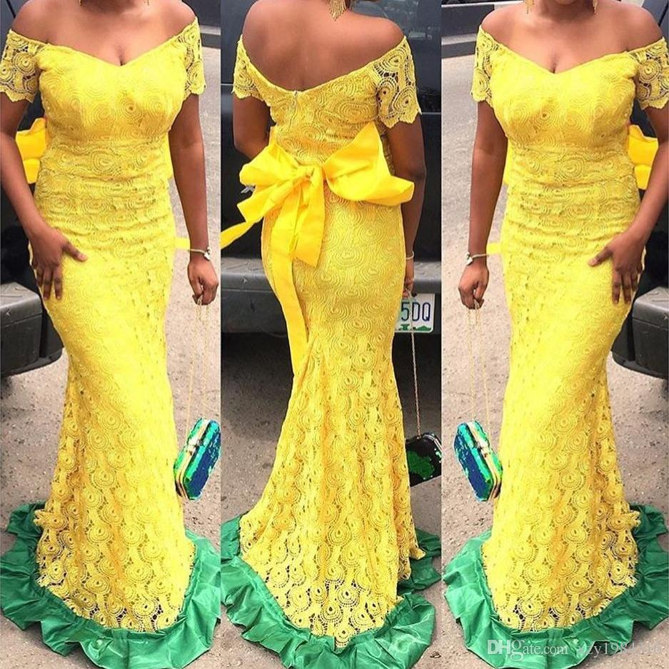 dd67612bd331 Sun Yellow Lace Prom Dresses Off Shoulder Short Sleeves Zipper Back Sash  Evening Party Gown Elegant Floor Length Mermaid Evening Dresses Low Back  Prom ...