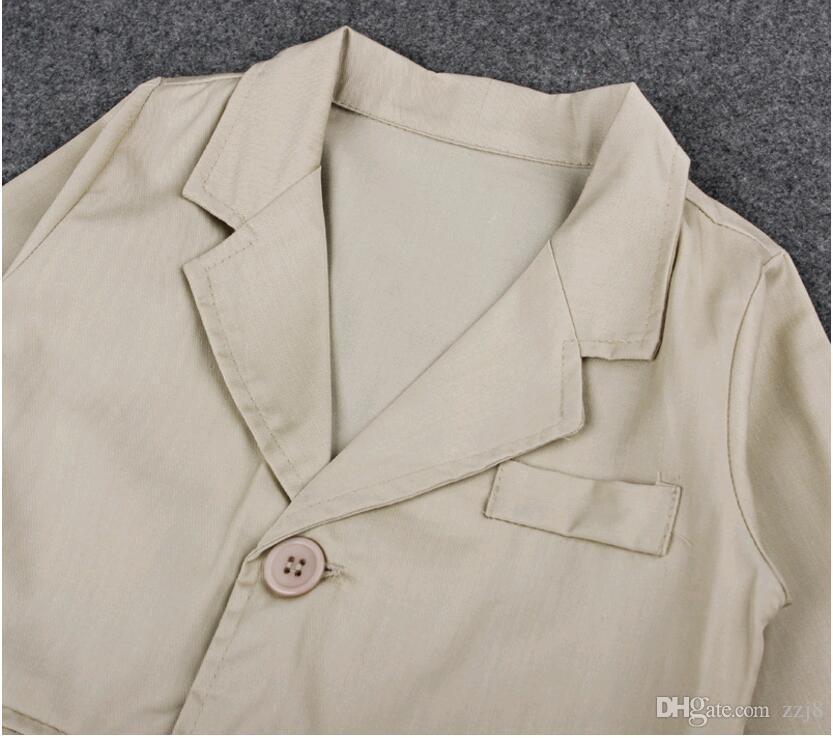 Gentleman Style Baby Boy Anzug Langarm Shirt Mantel und Jeans Kleidung Sets für Kinder Jungen