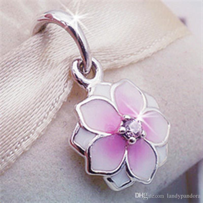 eb340c18a 2019 2017 Loose Bead 925 Sterling Silver Magnolia Bloom Dangle Charm With  Enamel & Cz Fits European Pandora Jewelry Bracelet Necklace & Pendant From  ...