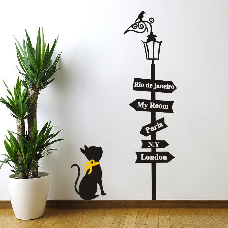 Wall Decals For Living Room 85x48cm pvc cartoon cat signs pattern wall stickers living room