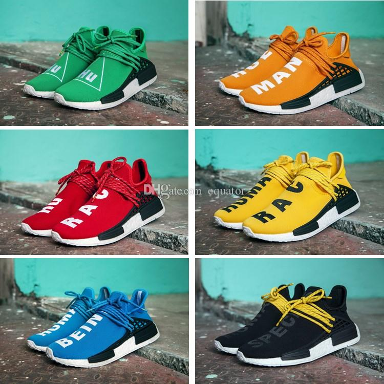 6840fa65929cf 2019 BB0619 Yellow 2016 Pharrell Williams X NMD HUMAN RACE Shoes Top Quality  REAL BOOST Bottom With Nipples Mix Men Running Shoes From Equator