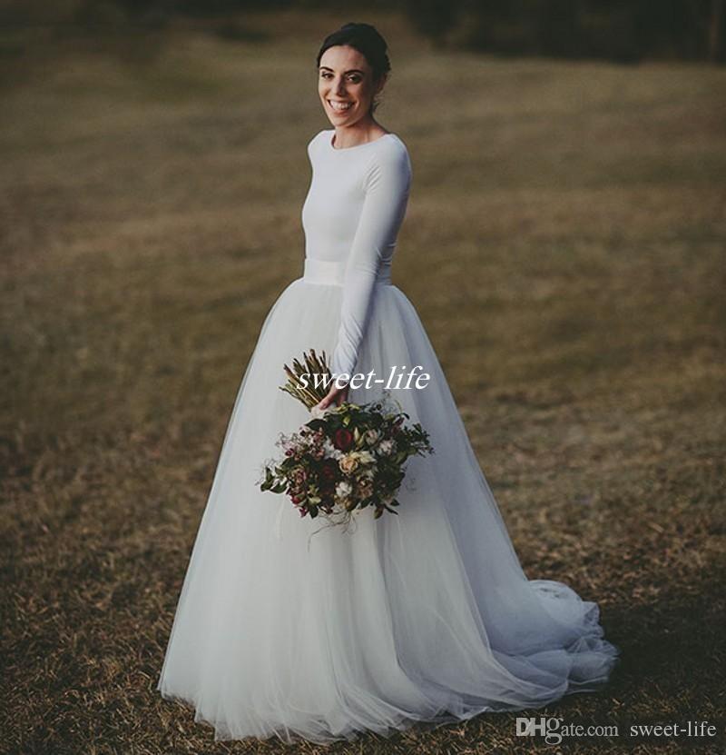 Discount Simple Elegant Open Back Long Sleeve Wedding: Discount Elegant Long Sleeve Country Wedding Dresses Ivory