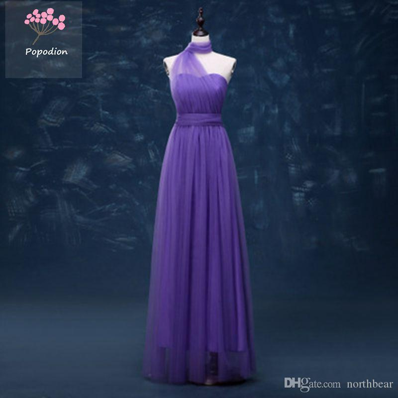 Popodion Elegant Tulle Full Length A Line Convertible Bridesmaid ...