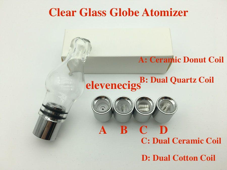 Clear Glass Globe Atomizer wax Ceramic Donut Quartz Ceramic Cotton Coil bulb glass atomizer for EVOD battery 510 thread battery
