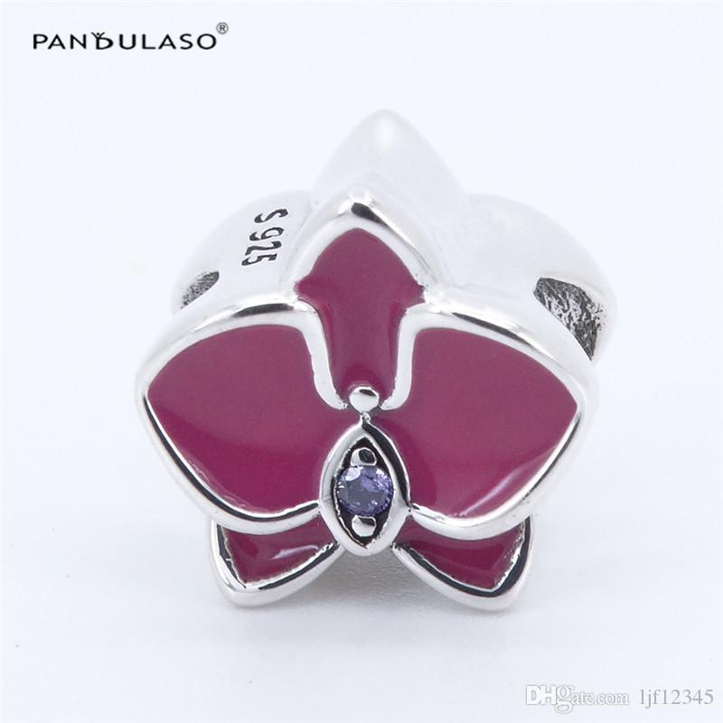 Pandulaso vibrant rose perles de charme orchidée pour la fabrication de bijoux s'adapte charmes Pandora bracelets femme bricolage argent 925 bijoux été 2017