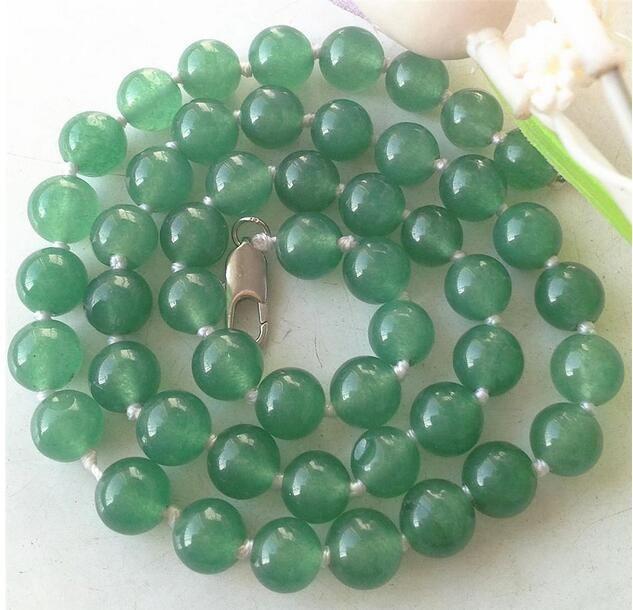 a91e1485db08 Compre Joyas De Plata Tibetana De Perlas Y Jade NUEVO Collar De Piedras  Preciosas De Jade Verde Redondo De 10 Mm 18    A  14.06 Del Dong1237