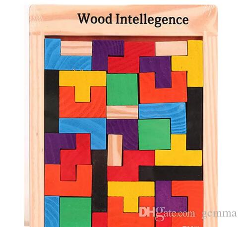 Hot Wooden Russian Tetris Puzzle Jigsaw Intellectual Building Block and Training Toy for Early Education Children wood intellegence Toys