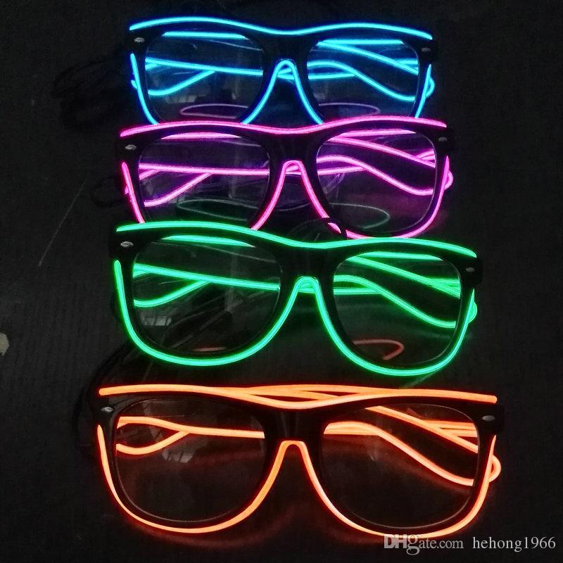 Artículos de fiesta de discoteca de anteojos populares Ropa de Halloween para adultos Decorar suministros EL Wire LED Light Glasses Luminous Toy 18cf C R