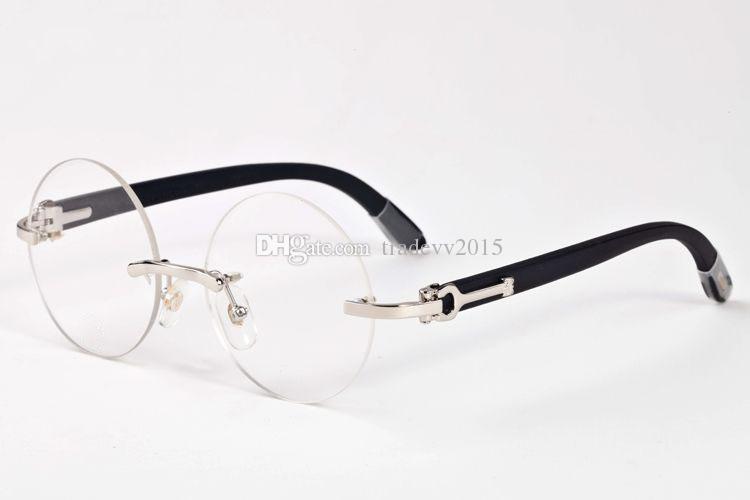 montatura in legno senza montatura da donna mens di lusso vintage corno di bufalo occhiali Retro Round lenti da vista occhiali da sole con scatola rossa
