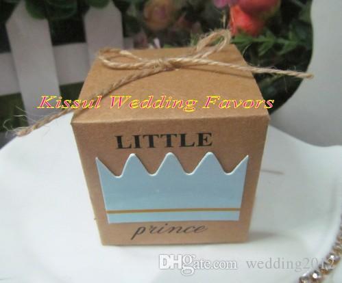 Baby Shower Favors of Little Prince Kraft Favor Boxes För Baby Födelsedag Party Presentförpackning Och Baby Decoration Present / Gratis frakt