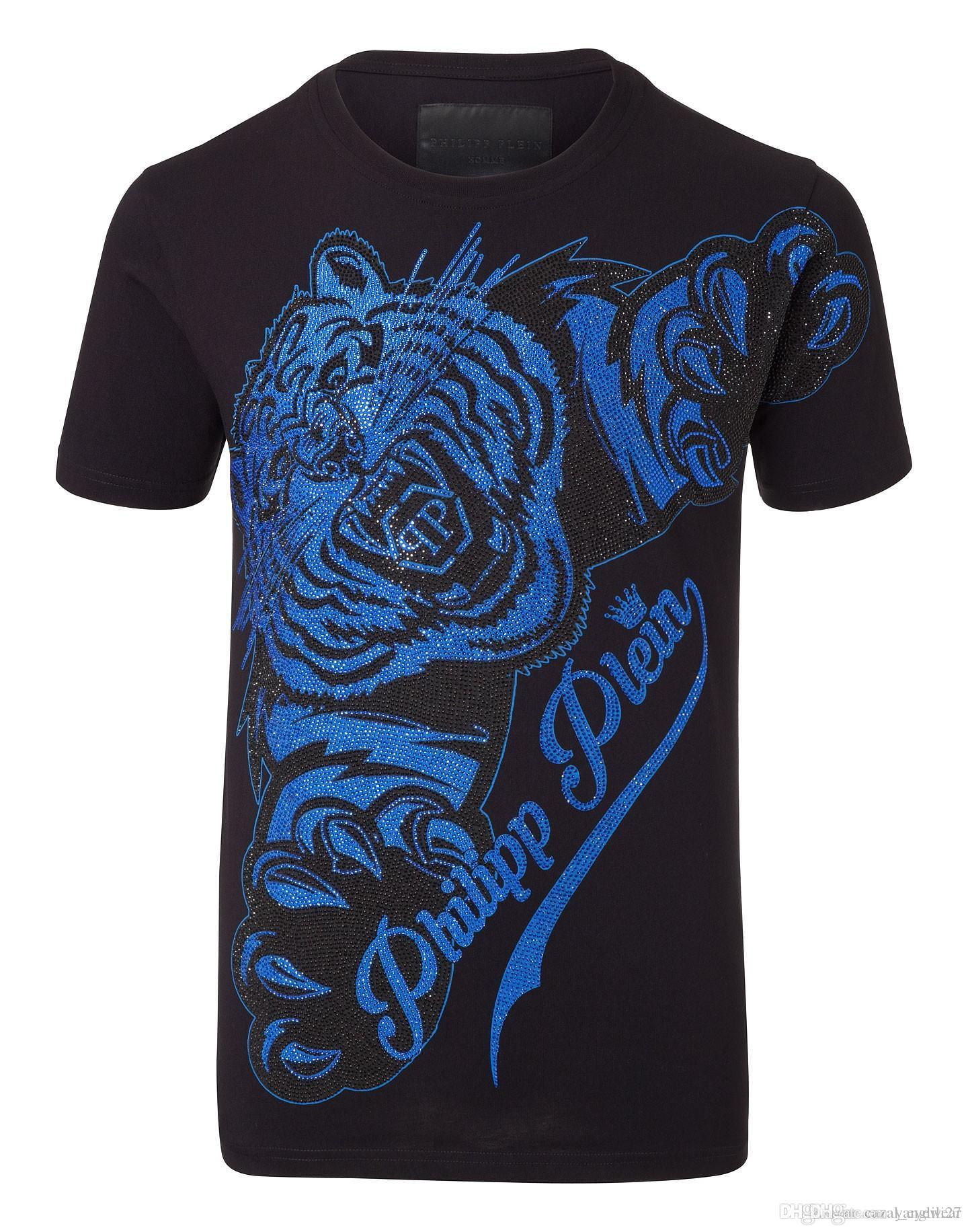 2017 Summer Mens Designer T Shirts Tiger & Diamonds 3d Printed ...