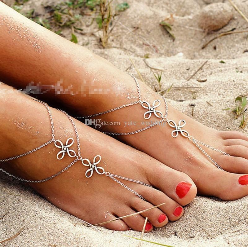 2018 Vintage Silver Barefoot Sandals Chains Beach Wedding Foot Jewelry Chinese Knot Footless Bridal Accessories