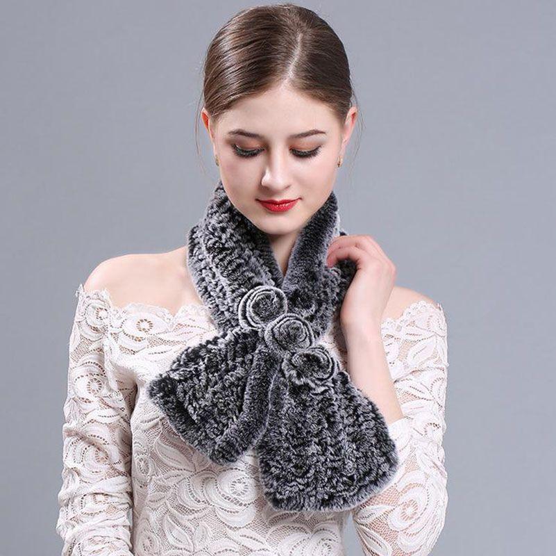 100% Real Rex Rabbit Fur Scarf Womens Fashion Winter Warm Flower Neck Wraps Shawl scarves