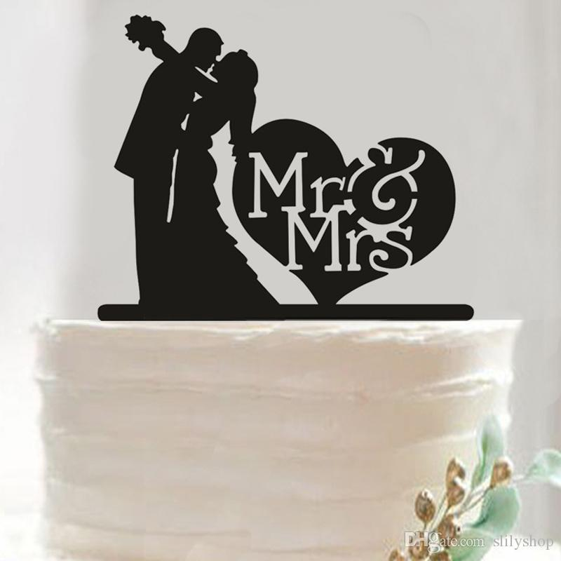 Romantic Acrylic Black Cake Topper Mr Mrs Hollow Cake Accessory Bride Groom Wedding Cake Topper Decoration Party Supplies