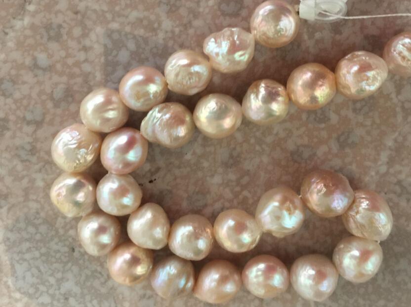 ファインパールジュエリー巨大ゴージャス13-14ミリメートル南海チェリーピンク真珠ネックレス19inch 14k