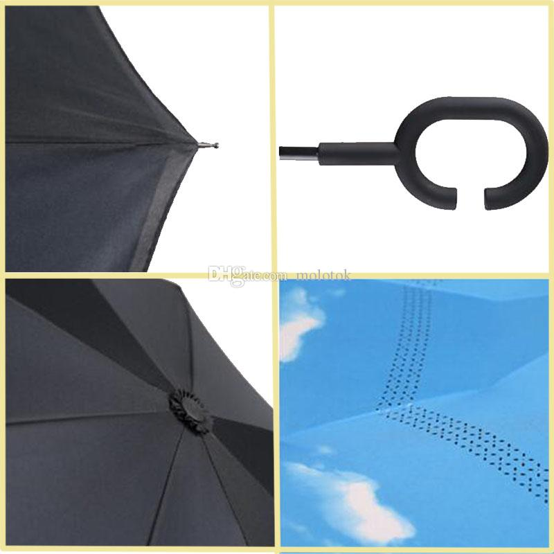 Windproof Reverse Folding Double Layer Inverted Chuva Umbrella Self Stand Inside Out Rain Protection C-Hook Hands For Car Christmas