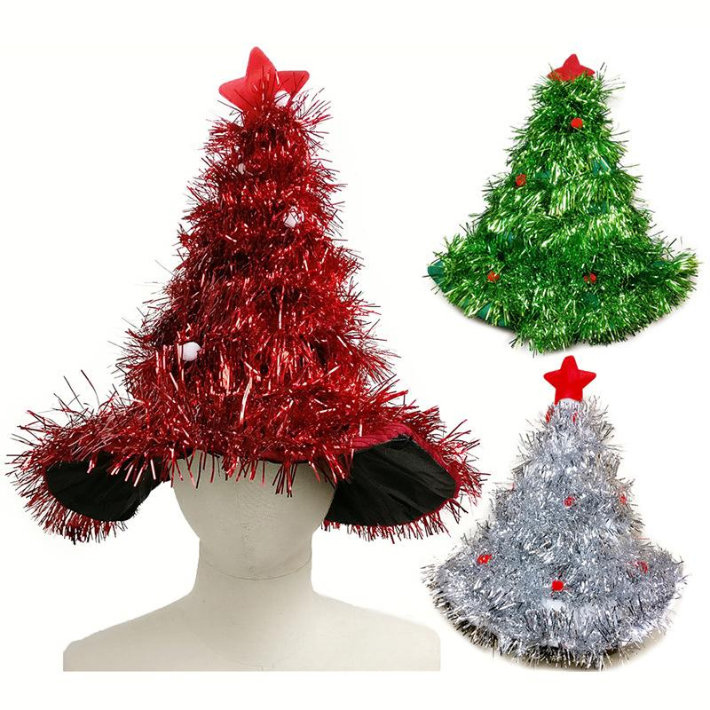 christmas hats red silver green tree with star christmas caps for adult and kids xmas decor new year s gifts home party supplies christmas decoration hat - Red And Silver Christmas Decorations