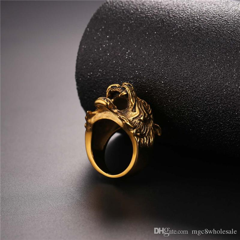 U7 New Hot Punk Tiger Head Ring Punk Rock Jewelry Gold Plated/Stainless Steel Men Fashion Hiphop Biker Cocktail Rings Anillos GR2466