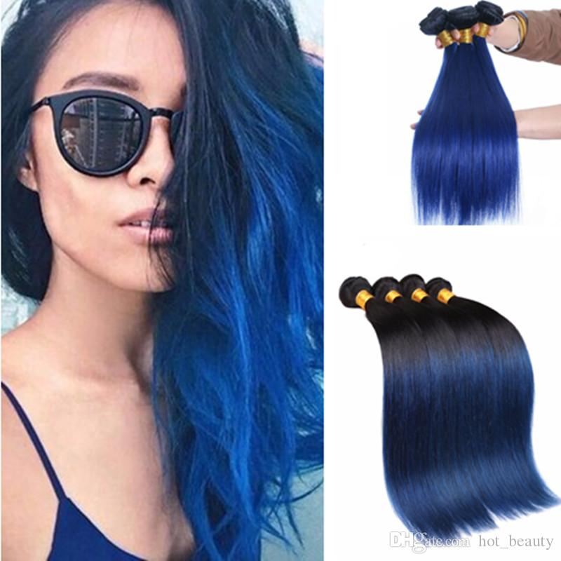 2018 Peruvian Virgin Straight Ombre Black And Blue Hair Extensions