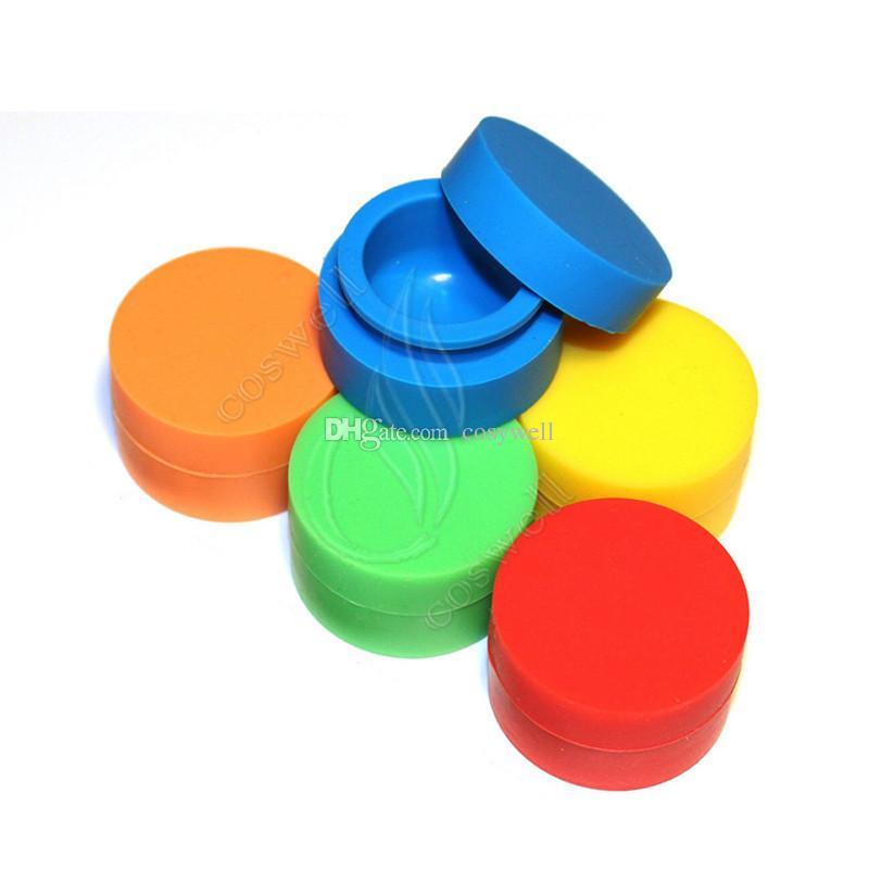 Qualidade superior Silicone Não vara Contêineres de Cerâmica Food grade 42 Cores 3 mL 5 mL 7 mL mini Dab Waxy Frascos Concentrado Caso FDA aprovado ecig caixa DHL