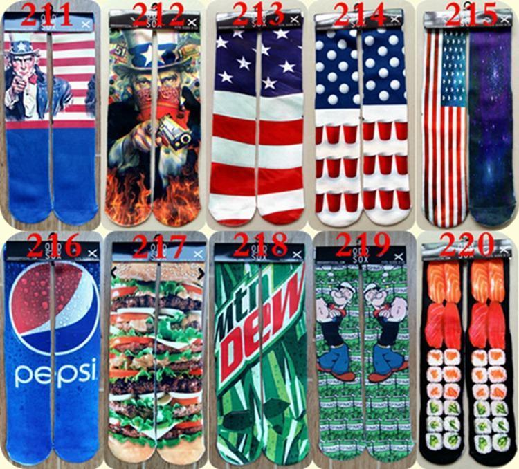 FEDEX 3d calcetines niños mujeres hombres hip hop calcetín 3d algodón impar calcetines de skate 100 unids = 50 pares
