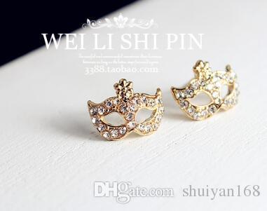 Pendientes Lovely Crystal Fox Mask Ear Stud Orejas perforadas Masquerade Flower Fox Charm Earrings para Mujeres Decoración Regalo de Navidad DHL