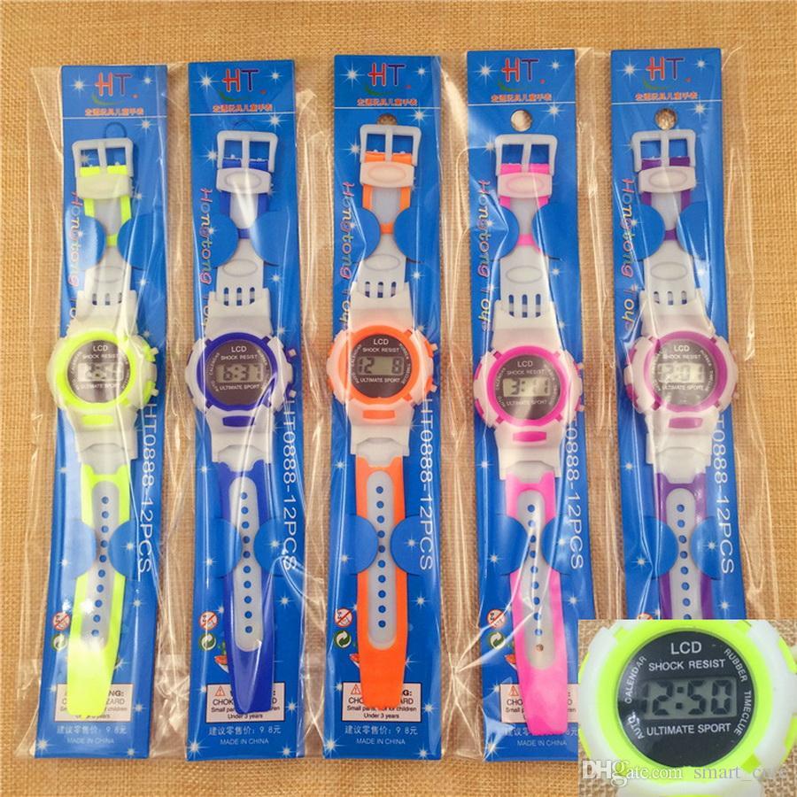 Candy Color Watch Niños Niñas Niños Estudiantes Reloj Digital Deportes Reloj Pequeños Regalos para Niños Envío de DHL Gratuito