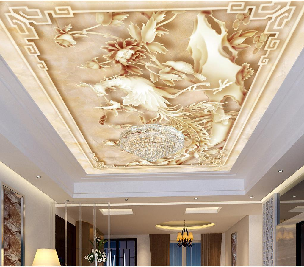 mural 3d wallpaper 3d wall papers for tv backdrop chinese style three dimensional relief flower blooming rich roof ceiling murals wallpaper backgrounds