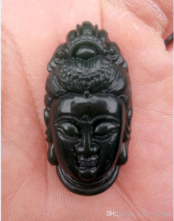 Natural xinjiang hetian Jade Jade Carved Buddha checking GuanYin when crash-tested Pendants C31A