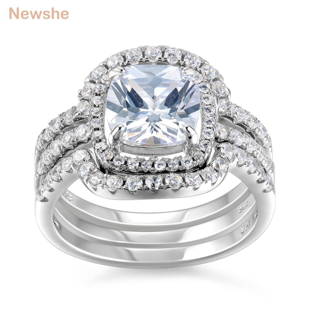 Newshe Halo Wedding Ring Set Genuine 925 Sterling Silver Engagement